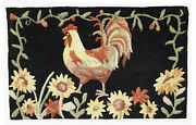 Handmade Vintage American Hooked Rug 1.6and039 X 2.6and039 50cm X 80cm 1960s - 1c462