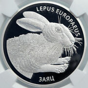 2014 Belarus Hares Animals Rabbits Pets Proof Silver 20 Rouble Coin Ngc I89092