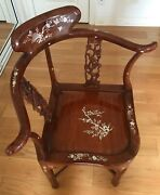 Antique Asian Corner Chair With Mother Of Pearl Inlay
