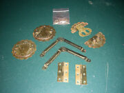 Vintage Antique Brass Cabinet Hardware Lot Of Hinges Straps Pulls Clasp Latch