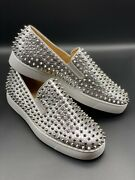 Christian Louboutin Menandrsquos Python Spikes Roller Boat Flat 44 Antique Silver