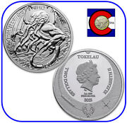 2021 Tokelau The Great Old One Cthulhu 1 Oz Silver 2 Coin - H.p. Lovecraft