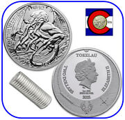2021 Tokelau The Great Old One Cthulhu 1 Oz Silver 2 Coin - Roll Of 20 Coins