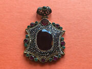 Large Pendant With Marcasite Topaz Lab-created Rubies Lab-created Emeralds