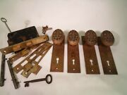 Two Antique Rande Brass Door Knob Sets Oval Knobs Mortise Locks With Keys 823