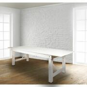 Hercules Series 9and039 X 40 Rectangular Rustic White Solid Pine Folding Farm Table