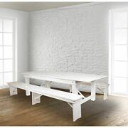 Hercules Series 8and039 X 40 Rustic White Folding Farm Table And Two Bench Set