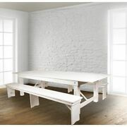 Hercules Series 9and039 X 40 Rustic White Folding Farm Table And Two Bench Set