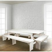 Hercules Series 9and039 X 40 Rustic White Folding Farm Table And Four Bench Se