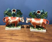 Staffordshire Pottery Cow Spill Vase Pair Set Of 2