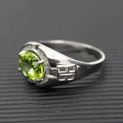Natural Lemon Topaz And C Z Gemstones With 925 Sterling Silver Ring For Menand039s