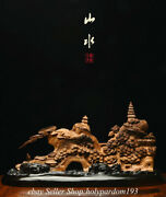 18 Chinese Agalloch Eaglewood Carving Fengshui Mountain Tree Bridge Statue