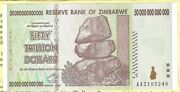 50 Trillion Zimbabwe Dollars Hyperinflation Crisp Uncirculated Note Currency