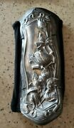 Repurposed Silver Plated And Leather Front Bracer Slip On Design Stretch Knit
