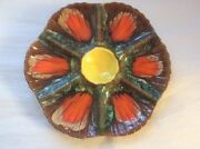 Oyster Plate Vintage French Vallauris Majolica Oyster Plate