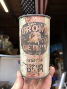 Brown And Green Stripe Brown Derby Oi Irtp Flat Top Beer Can - Associated Safeway