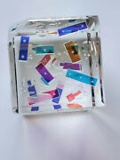 New Optic Crystal Dichroic Glass Paperweight Confetti By Ray Lapsys
