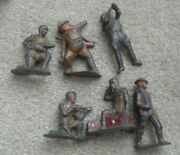 Lot Of 6 Vintage Barclay Cast Metal Toy Soldier Figures 3 1/8 Tall Damaged