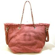 Auth Large Shopping Bag A57168 Pink Brown Fabric Goatskin Tote Bag