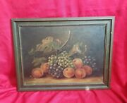 Vintage Early-mid Xx Century Grace Anderson Still Alive Fruits Oil Painting
