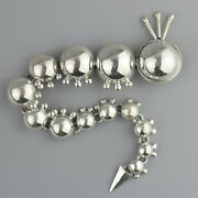 Vintage Long Caterpillar Sterling Silver Mexico Brooch Pin Articulated Amazing