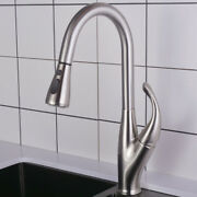 Brushed Nickel Kitchen Sink 360° Swivel Faucet Pull Out Mixer Unique Taps Brass
