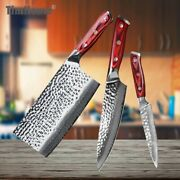 Chef Cleaver Utility Knife Set 67 Layers Damascus Steel Wood Handle Hammered Cut