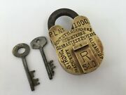 Lock Old Vintage Solid Brass Padlock Trick Or Puzzle Lock With 2keys Collectible