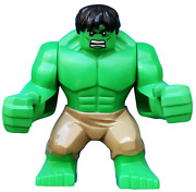 New Lego Hulk With Black Hair And Dark Tan Pants From Set 6868 Avengers Sh013