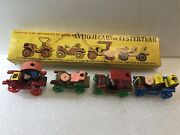 Antique Cars From Yesteryear. Rare Collectible Set Of 4. Hand Carved Wood. Japan