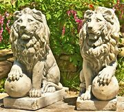 Magnesium Pair Of Lion Statues Set Of 2 Outdoor Safe
