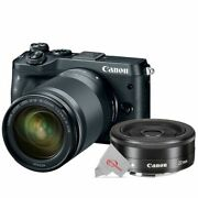 Canon Eos M6 Mirrorless Camera Black With 18-150mm + Ef-m 22mm F2 Stm Lens