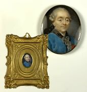 Tiny Antique Portrait Miniature C.1700s Gentleman Likely Russian Or E. Europe