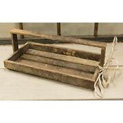 New Primitive Farmhouse Rustic Barn Wood Lath Basket With Handle Crate Box 16