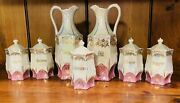 Antique Germany Lusterware Pink Gold Canister Spice Set Euc
