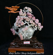 16.4 Chinese Natural Pink Xiu Jade Carving Plum Blossom Birds Kettle Statue