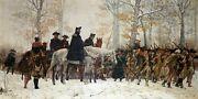 George Washington Watching Troops On March To Valley Forge Oil Painting Repro