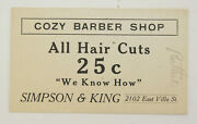 Cozy Barber Shop Simpson And King East Villa St. Vintage Card Coupon 2.25 X 4
