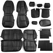 Front+rear Black Leather Seat Covers For 07-13 Chevrolet Silverado Extended Cab