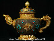 14 Old Tibet Natural Crystal Copper Gilt Filigree Inlay Gems Water Kettle