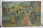 Old Vintage Rare Handmade Indian Village Womenand039s Unique Cardboard Painting