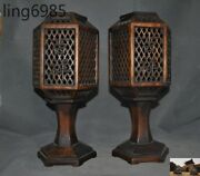 """Old Chinese Huanghuali Wood Hand Carved Candle Palace Lanterns Statue Pair""""吉祥如意"""""""