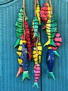 3 Large Strands Of Vibrant Colorful Mexico Paper Mache Fish On Rope Tropical