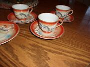 Fleetwood Demitasse Cups And Saucers- Dragon Very Vintage Pcs.3 Cups/4 Scrs.
