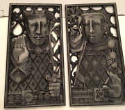 Vintage Art Deco Rare Syroco Wood Plaques King + Queen By Harry Laylon Fabulous
