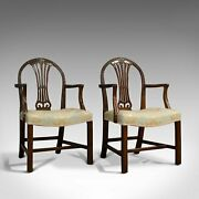 Pair Of, Antique Hepplewhite Revival Carvers, Mahogany, Arm Chair, Victorian