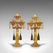 Pair Of Antique Candelabra English Glass Candle Stand Victorian Circa 1890
