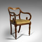 Antique Scroll Arm Chair English Mahogany Buckle Back Seat William Iv 1835