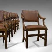 Set Of 8 Antique Dining Chairs Oak Seat Arts And Crafts Hamptons Edwardian
