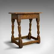 Small Antique Joint Stool Oak Seat Side Table Jacobean Revival Victorian